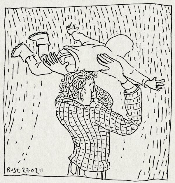 tekening 1381, alwine, hoofd, jas, paraplu, regen, vliegen