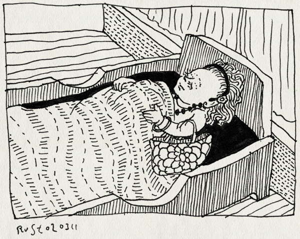 tekening 1384, accesoires, alwine, armband, bed, ketting, meisje, oorbel, sieraden