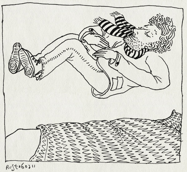 tekening 1388, bed, moe, nacht, ploffen, springen, stappen, thuis, uit, vallen