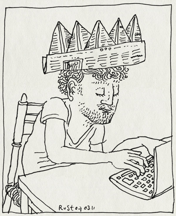 tekening 1389, computer, krant, kroon, recensiekoning, schrijven, tpyen, volkskrant, werk