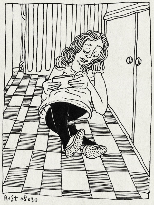 tekening 1390, avond, iphone, keuken, lekker, martine, spelen, tegels, tiles, tiny wings, uitrusten, verwarming, warm