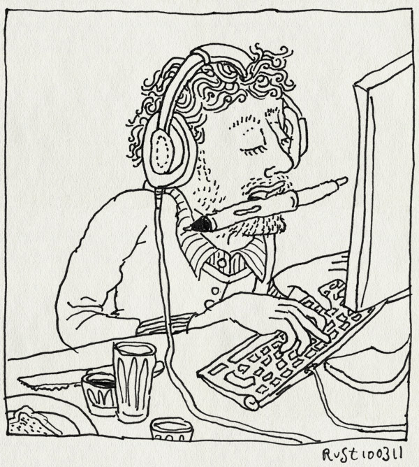 tekening 1392, doorwerken, keihard, lekker, muziek, werk