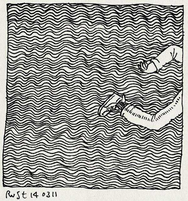 tekening 1396, golfjes, golven, japan, rennen, tsunami