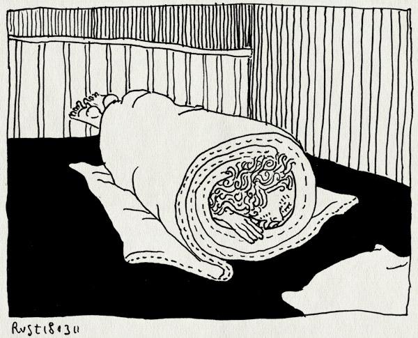 tekening 1400, bed, dekbed, deken, draaien, woelen
