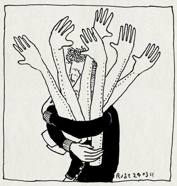 tekening 1406, armen, burorust, druk, hulp, veel, werk