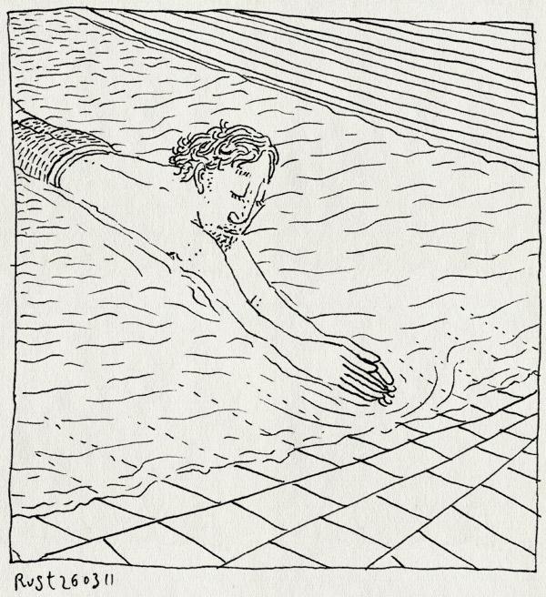 tekening 1408, lekker, mirandabad, ondiep, pierenbadje, zaterdag, zwemmen