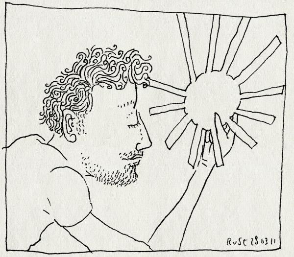 tekening 1410, binnen, buiten, lente, uitgeknipt, werk, zon