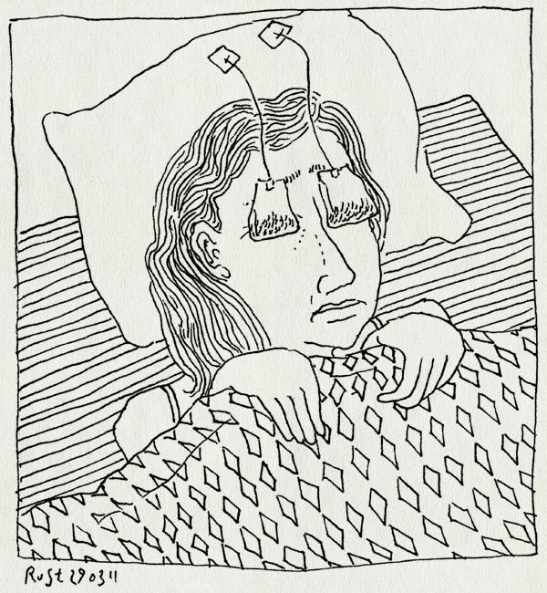 tekening 1411, bed, martine, ogen, theezakjes, ziek