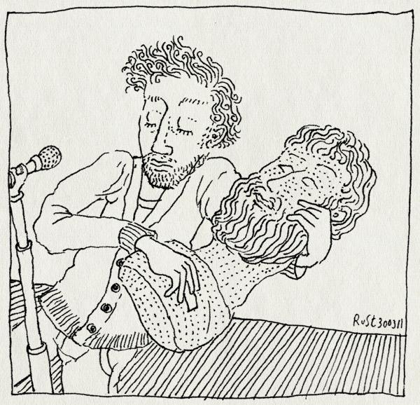 tekening 1412, ad verbrugge, filosoof, microfoon, optreden, podium, tekening