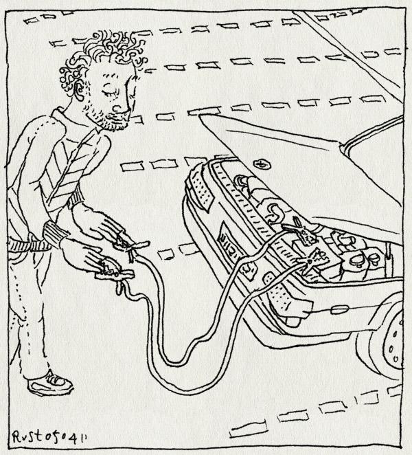 tekening 1418, auto, deventer, ieder1, pluk, saab, startkabels, ture, verloren dag