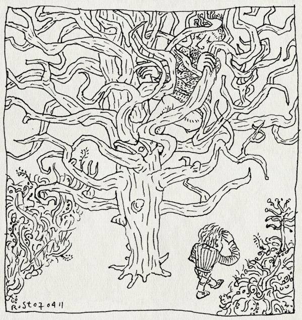 tekening 1420, boom, midas, verstoppen, verstoppertje