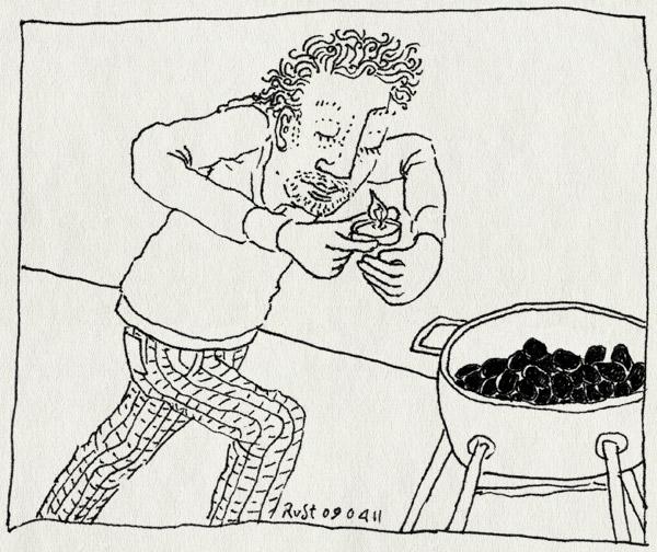 tekening 1422, aansteken, barbecue, kaarsje, kolen, patty, ronald, waxinelichtje, weber