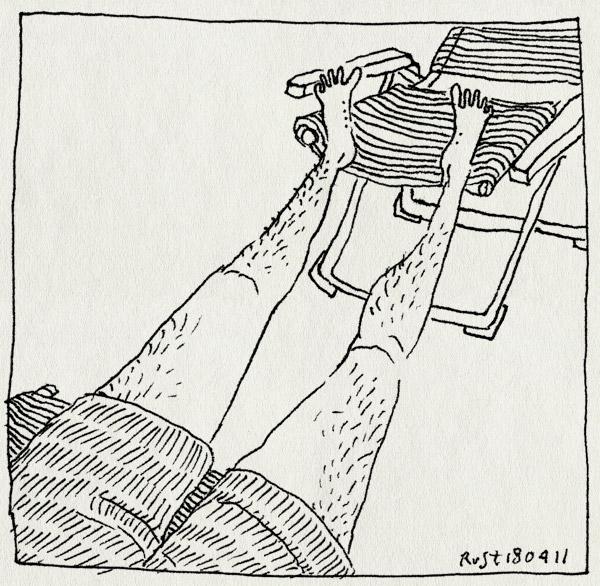 tekening 1430, balkon, korte broek, zomer. lente, zon