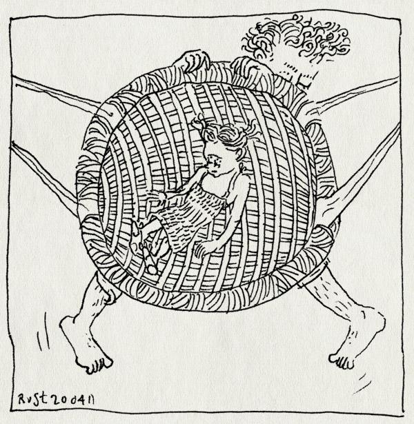 tekening 1432, alwine, durf, durfal, hoog, lef, schommel, schonnelen, slingeren, slingermand, speeltuin, stoer