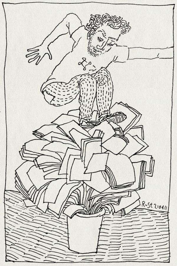 tekening 1433, burorust, grote schoonmaak, lenteschoonmaak, opruimen, prullenbak