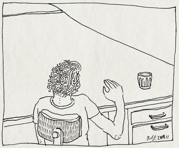 tekening 1434, bureau, burorust, clean desk policy, grote schoonmaak, klaar, leeg, lente, lenteschoonmaak