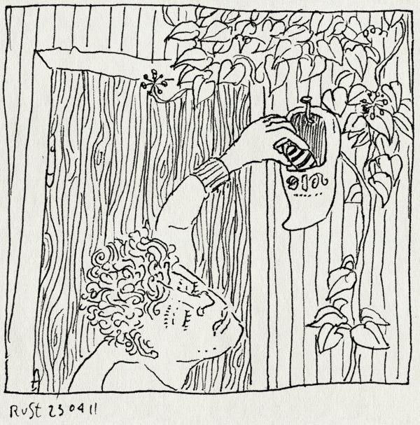 tekening 1435, achtertuin, castricum, herinnering, klomp, paaseieren, pasen, verstoppen, vroeger