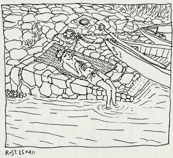 tekening 1437, 1993, boten, dordogne, envaux, enveaux, herinnering, kade, liggen, nostalgie