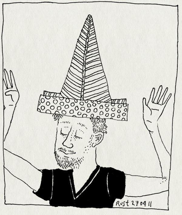 tekening 1439, 33, hoedje van papier, jarig