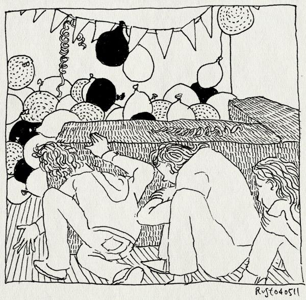 tekening 1446, balonnen, bank, hilversum, robbert, serpentine, slingers, surpriseparty, verjaardag, veug, vlaggetjes