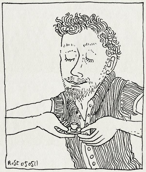 tekening 1447, alwine, minikopje, thee, theekransje