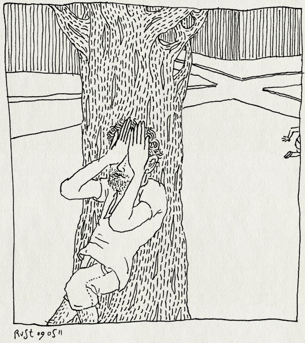 tekening 1451, boom, jekerplein, midas, tellen, verstoppertje