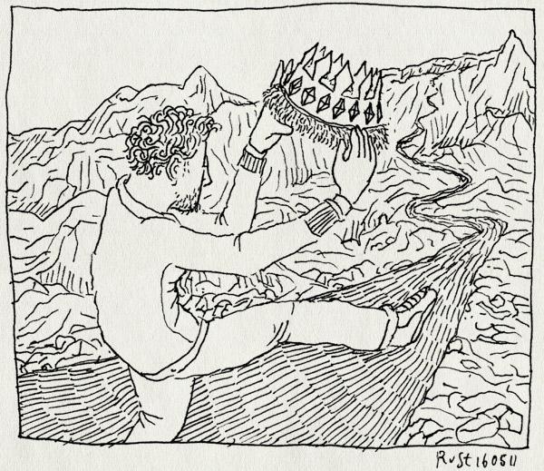 tekening 1458, berg, koning, kroon