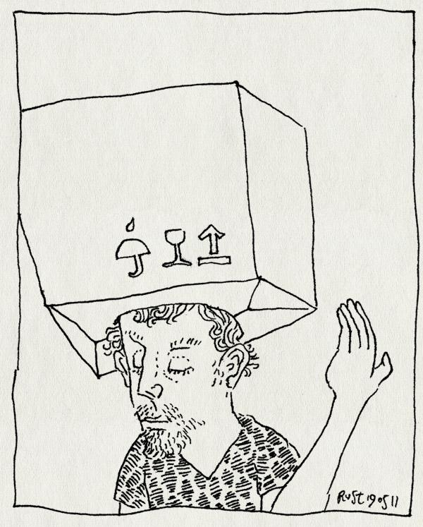 tekening 1461, breekbaar, doos, hoofd, hoofdpijn, vol