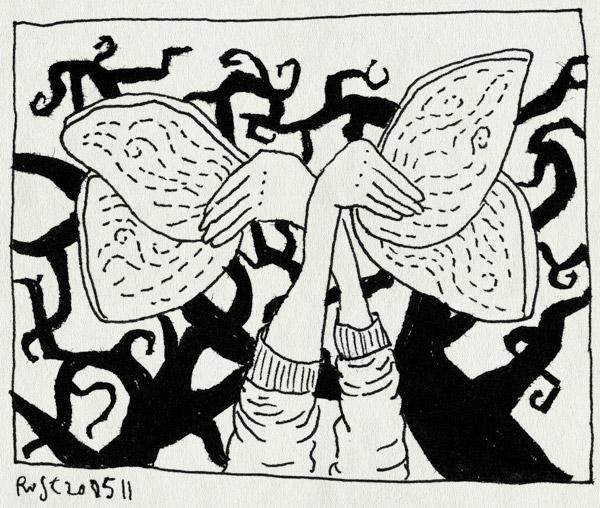 tekening 1462, ad verbruggem bos, arjan benning, bomen, boom, fotoshoot, vleugels