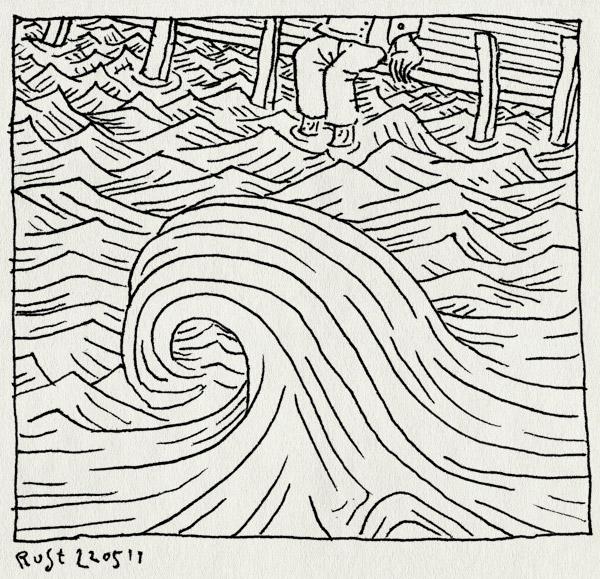 tekening 1464, golven, kade, scholkand, water, xwashier, zitten