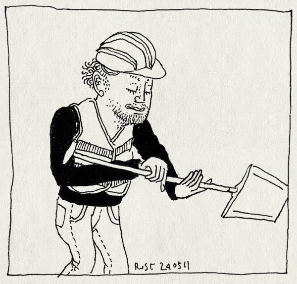 tekening 1466, bewustebouwers, bouwvakker, burorust, hesje, schep, werk