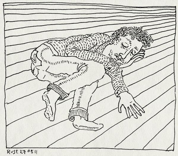 tekening 1469, grond, moe, slapen, vloer, werk