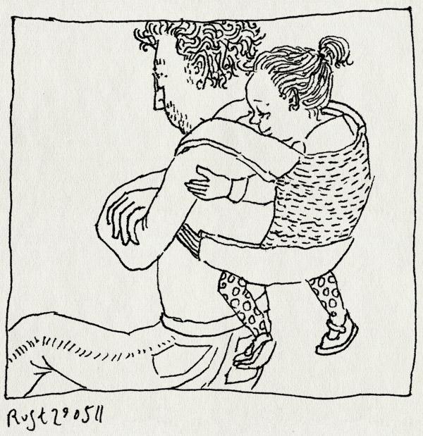 tekening 1471, alwine, draagzak, lekker, rug