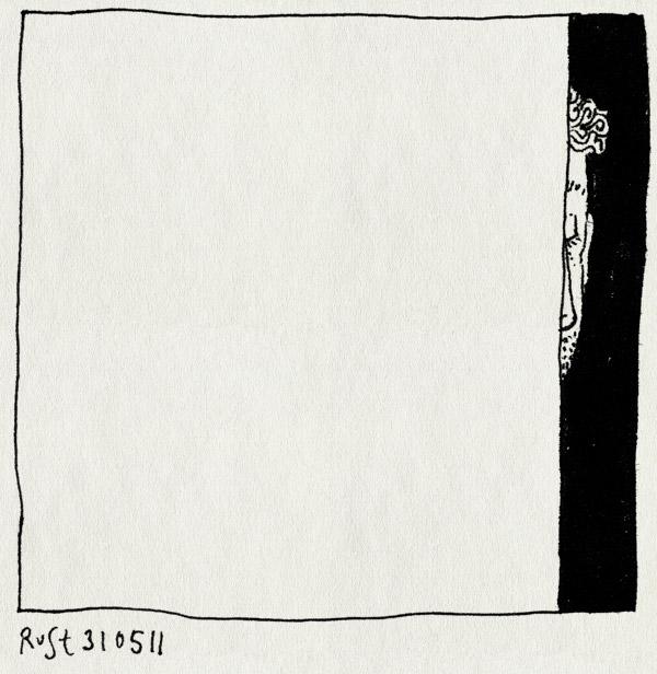 tekening 1473, klein, moe, monimaal, verstopt, weg