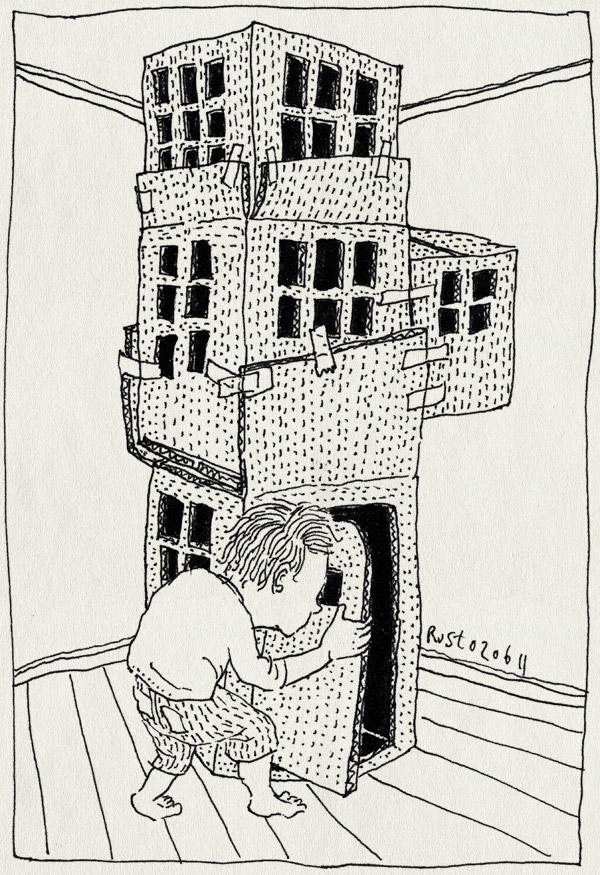 tekening 1475, deur, deurtje, doos, dozen, hut, karton, maud, midas, wolkenkrabber