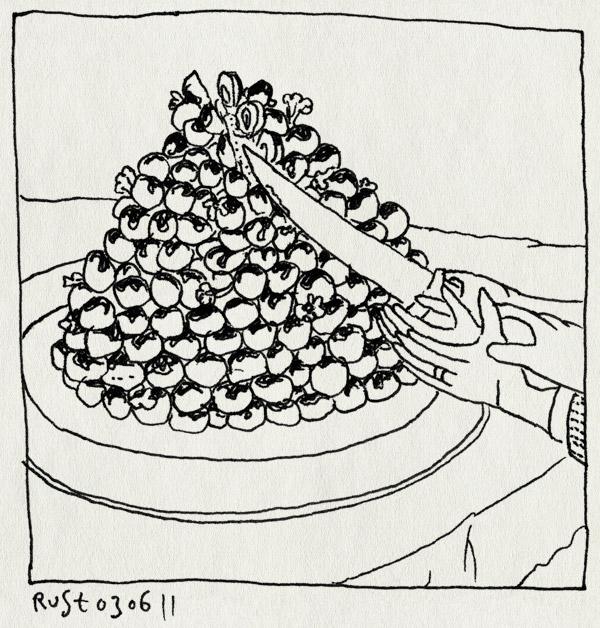 tekening 1476, aansnijden, arjan benning, berg, huwelijk, judithm trouwerij, profiterolles, profiterollesberg, taart