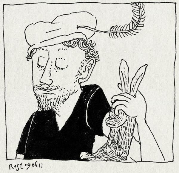 tekening 1482, dood, gelige mork, konijn, muts, pet, recensiekoning, strip, zwartepietenmuts