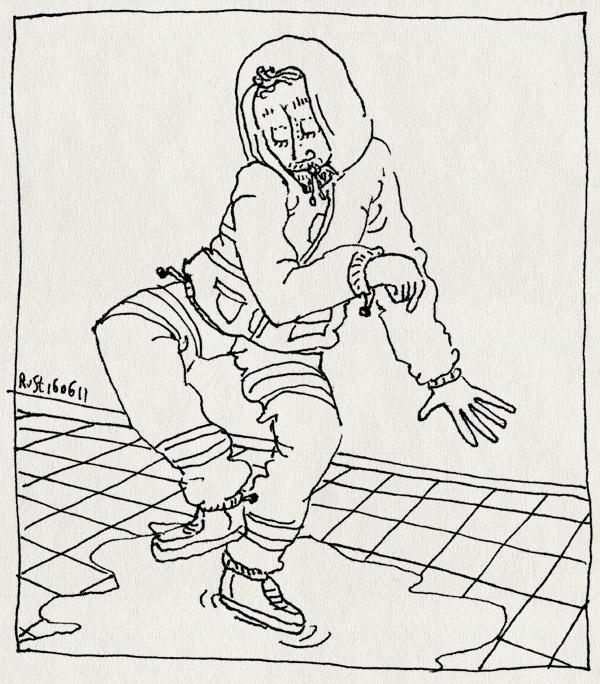 tekening 1489, buien, capuchon, plas, regen, regenbroek, regenjas, regenpak, stoep