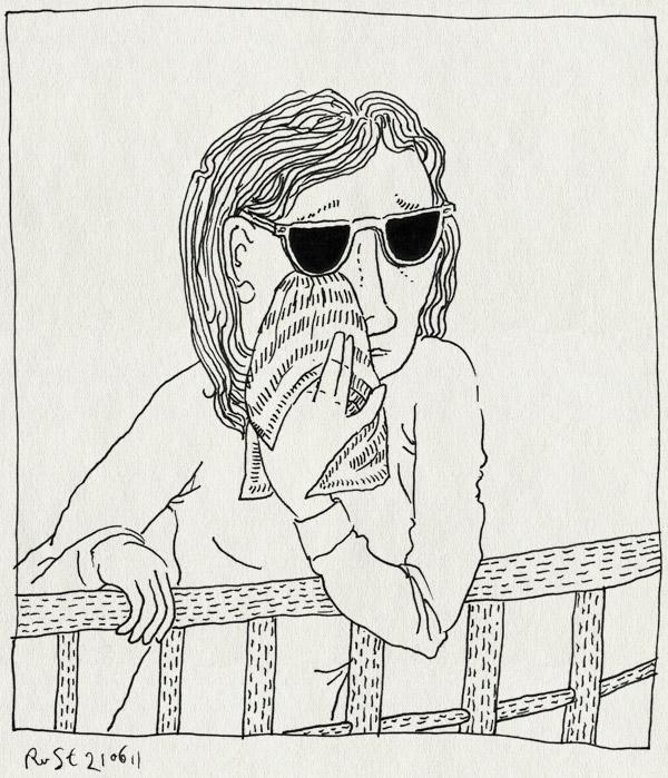 tekening 1494, afscheid, boot, cruise, cruise10opa, martine, opera, snik, zakdoek, zonnenbril