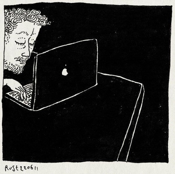 tekening 1495, burorust, donker, druk, lekker, licht, mac, nacht, tafel, werken