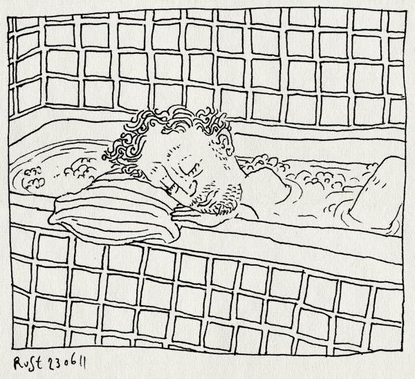 tekening 1496, bad, badkamer, kussen, ligbad, moe, slapen, tegels