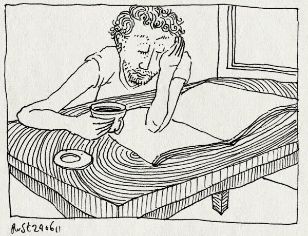 tekening 1497, alleen, iedereen weg, krant, lezen, ochtend, tafel