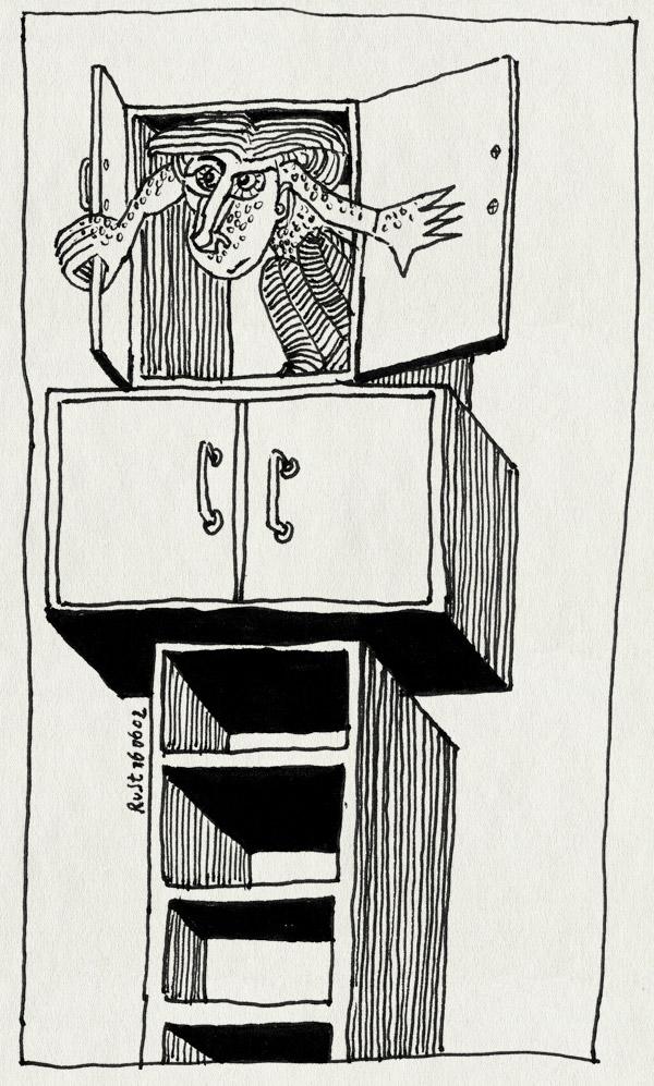 tekening 15, deurtjes, kast, kasten, kiekeboe, stapel, uit de kast