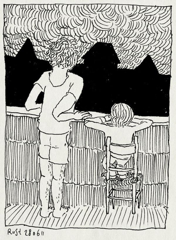 tekening 1501, balkon, bliksem, donder, dreigend, gezellig, kijken, midas, onweer, samen, stoel, tellen, wolken