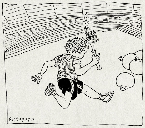 tekening 1510, midas, olympisch stadion, rennen, skippybal, sportdag