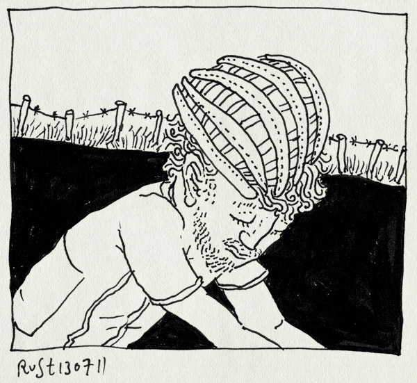 tekening 1516, barb wire, fiets, fietsen, fietshelm, kijken, luisteren, prikkeldraad, tour de france, wielrennen