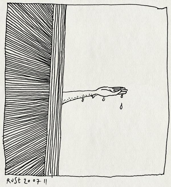 tekening 1523, droog, hand, plaatselijk, regen, voelen, wolkbreuk