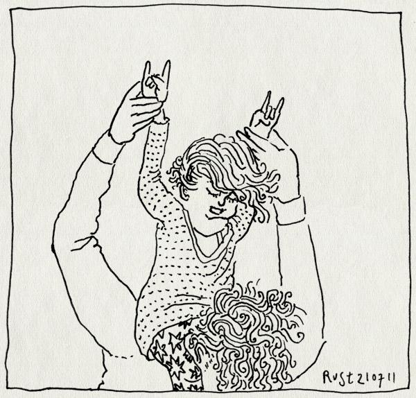 tekening 1524, alwine headbangen, dansen, hoofd, hoog, nek, rock