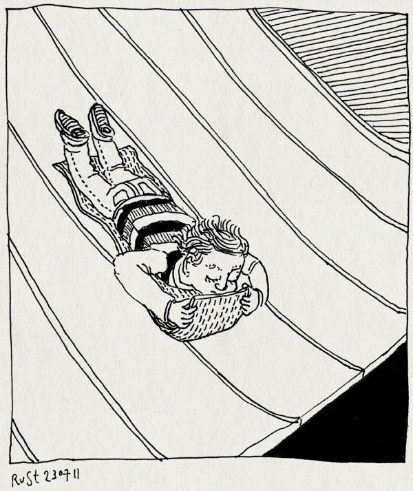 tekening 1526, bennebroek, glijbaand, glijden, head first, linnaeushof, midas