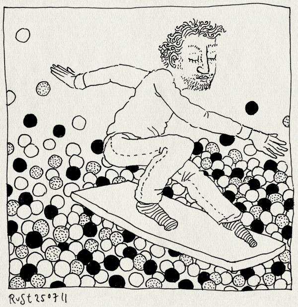 tekening 1528, ballen, ballenbak, ballorig, surfen